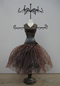 Bijoux Mannequin donkerbruin pailletten  per stuk