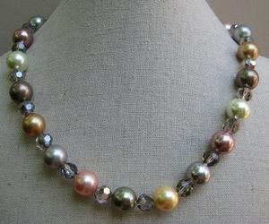 Parelketting 12mm geel/groen/roze/grijs met kristal  per stuk