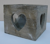 Windlicht hart hout met glas per stuk