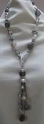 Ketting met parels en edelsteen met hanger grijs compleet set