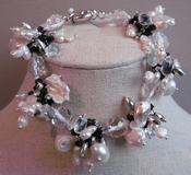 Armband zwart/wit met kristal per stuk